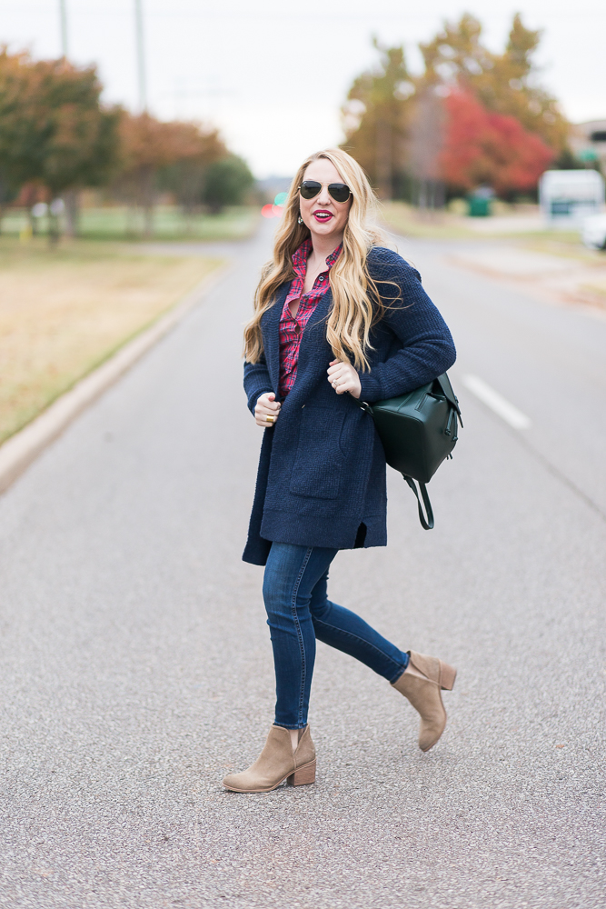 Fall Essentials: Cozy Waffle Knit Cardigan and Plaid Button Down